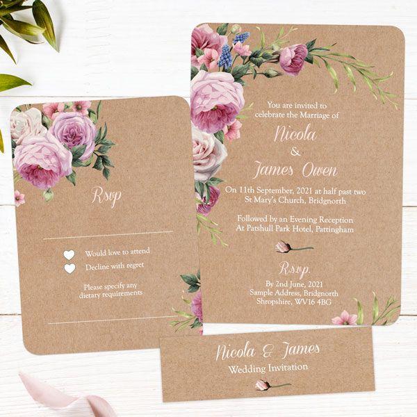 Why Should I Order Wedding Invitation Samples? - Kraft Vintage Flowers Boutique Sample